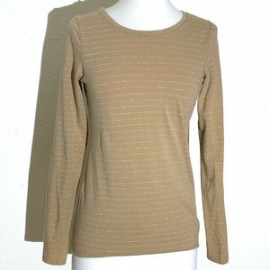The Limited Womens Top XS Yellow Sliver Striped